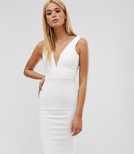 dcbcb9e0a Read more about Missguided tall bodycon midi dress with v bar plunge neck  in white