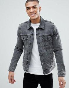 Read more about Asos design skinny denim jacket in grey - grey