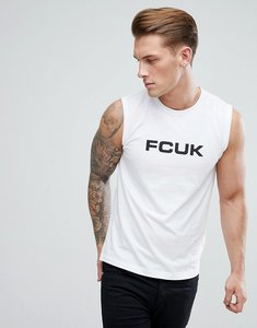 Read more about French connection sleeveless logo vest - white black