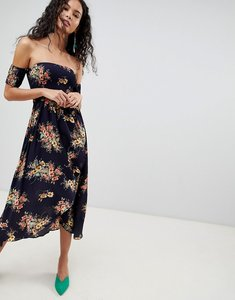Read more about Qed london off shoulder floral midi dress - navy