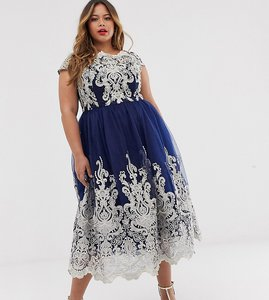 Read more about Chi chi london plus premium metallic lace midi prom dress with bardot neck - navy