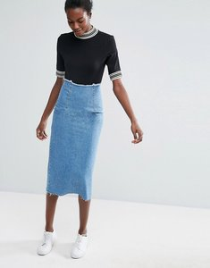 Read more about Asos denim midi pencil skirt in midwash blue - blue