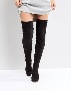 Read more about Asos kingship wide leg heeled over the knee boots - black