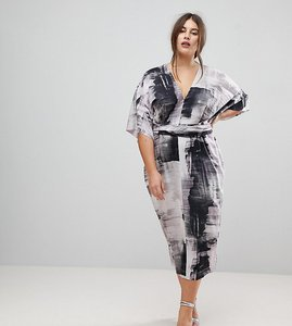 Read more about Asos curve kimono dress in abstract print - multi