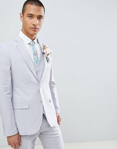 Read more about French connection wedding linen slim fit suit jacket - light grey