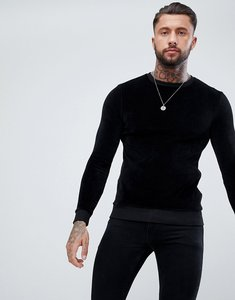 Read more about Asos muscle sweatshirt in black velour - black