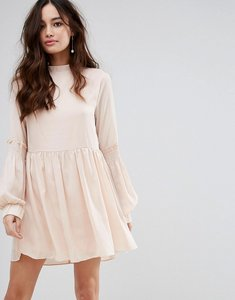 Read more about Fashion union high neck smock dress with shirring - nude