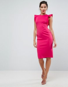 Read more about Asos scuba midi pencil dress with frill sleeve - deep pink