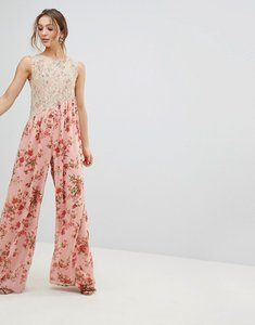 Read more about Asos jumpsuit in soft floral with lace bodice detail - pink