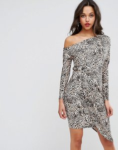 Read more about Asos one shoulder dress with drape front in animal print - multi