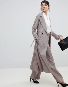 Read more about Closet london trench coat with tie sleeve in check - check