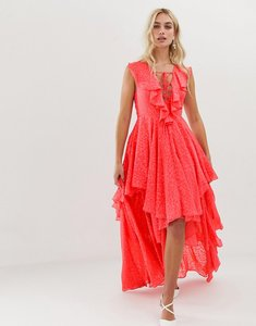Read more about Y a s ruffle lace up maxi dress - pink