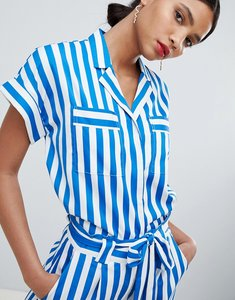 Read more about Y a s stripe short sleeve blouse - multi