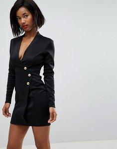 Read more about Club l scuba blazer wrap dress with long zip detail at back - black