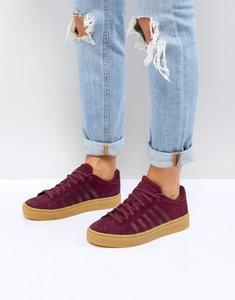 Read more about K-swiss court frasco trainers in burgundy with gum sole - red