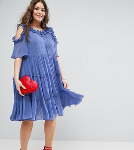 Read more about Asos curve premium multi layer ruffle tulle swing dress - blue