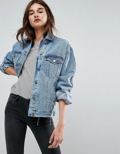 Read more about Asos recycled denim girlfriend jacket in missouri blue wash - blue