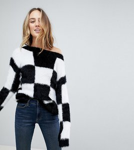 Read more about Asos tall jumper in fluffy check board pattern - black