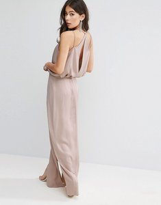 Read more about Asos drape front strappy back maxi dress - rose dust