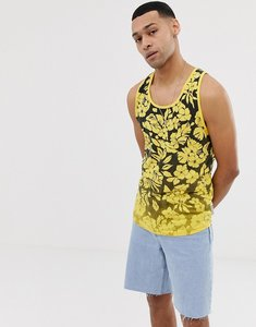 Read more about Bellfeild hibiscus fade print vest in black and yellow