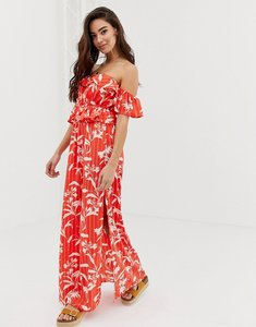 Read more about Asos design bardot beach maxi dress with ruffles in flamenco floral stripe print