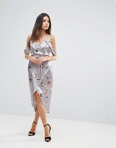 Read more about Club l frill detail asymmetric dress in floral print - multi