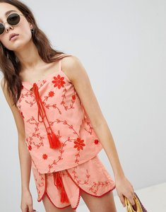 Read more about Glamorous top with tassel tie front in contrast embroidery co-ord - light coral