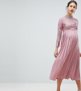 Read more about Little mistress maternity embroidered lace top midaxi dress with pleated skirt - mauve