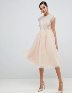 Read more about Asos design embellished open back tulle midi dress - nude