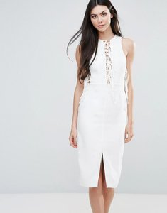 Read more about Lavish alice midi dress with lace up front - white