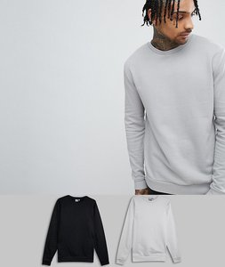 Read more about Asos design sweatshirt 2 pack black light grey save - black drizzle