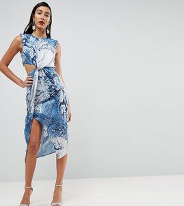 Read more about Asos tall twist front midi pencil dress in abstract print - multi