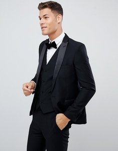 Read more about French connection slim fit peak collar tuxedo jacket - black