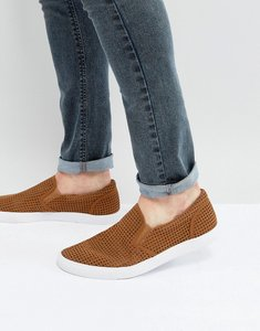Read more about Asos slip on plimsolls in tan with perforation - tan