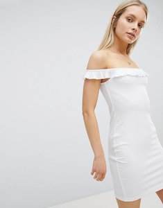 Read more about Asos design bardot frill mini rib dress - white