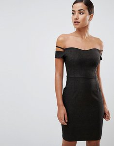 Read more about Vesper bardot mini glitter dress with sleeve detail in black