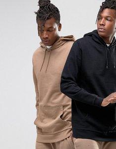 Read more about Asos longline hoodie 2 pack beige black save - beige black