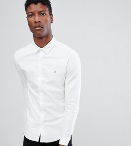 Read more about Farah stretch skinny fit buttondown oxford shirt in white - white