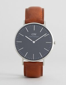 Read more about Daniel wellington classic black st mawes leather watch with silver dial 40mm - brown
