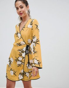 Read more about Miss selfridge wrap tea dress with floral print in yellow - multi