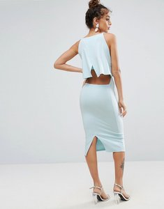 Read more about Asos crop top midi with strap back dress - ice blue