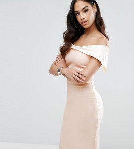 Read more about Vesper bardot overlay pencil dress in colourblock - cream nude