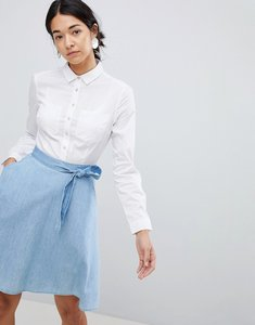 Read more about French connection hennsey denim skater skirt - white washed blue