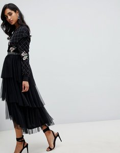 Read more about Frock and frill embroidered tulle midi skirt in black - black