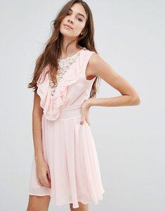 Read more about Wal g lace insert skater dress with ruffles - pink
