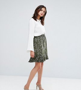 Read more about Y a s tall allover printed layered mini skirt - green