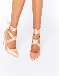 Read more about Asos pino satin lace up pointed heels - nude satin