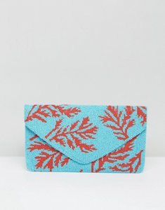 Read more about Clutch me by q hand beaded blue clutch - turq red ferns