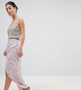 Read more about Asos design petite maxi embellished wrap skirt - pink