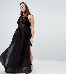 Read more about Asos curve premium crochet panel maxi beach dress - black